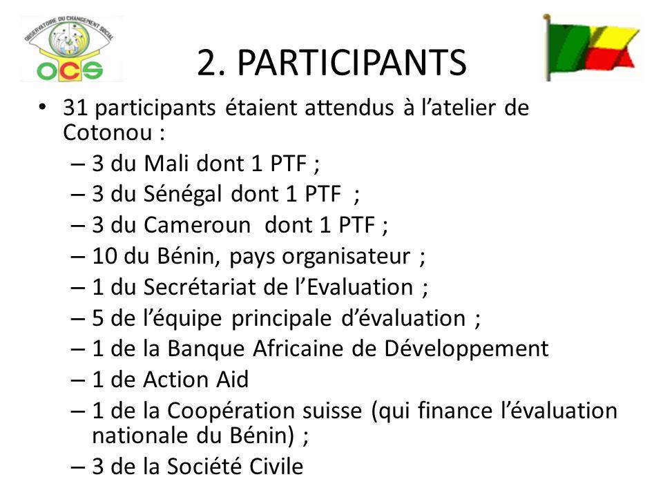 2. PARTICIPANTS 31 participants étaient attendus à latelier de Cotonou : – 3 du Mali dont 1 PTF ; – 3 du Sénégal dont 1 PTF ; – 3 du Cameroun dont 1 P