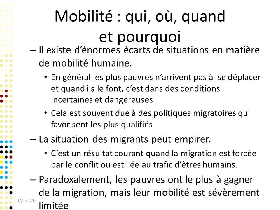 Mobilité : qui, où, quand et pourquoi – Il existe dénormes écarts de situations en matière de mobilité humaine. En général les plus pauvres narrivent