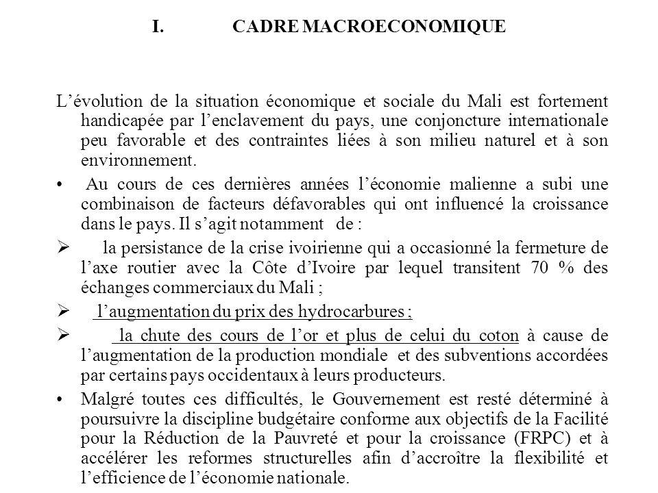 I.CADRE MACROECONOMIQUE Lévolution de la situation économique et sociale du Mali est fortement handicapée par lenclavement du pays, une conjoncture in