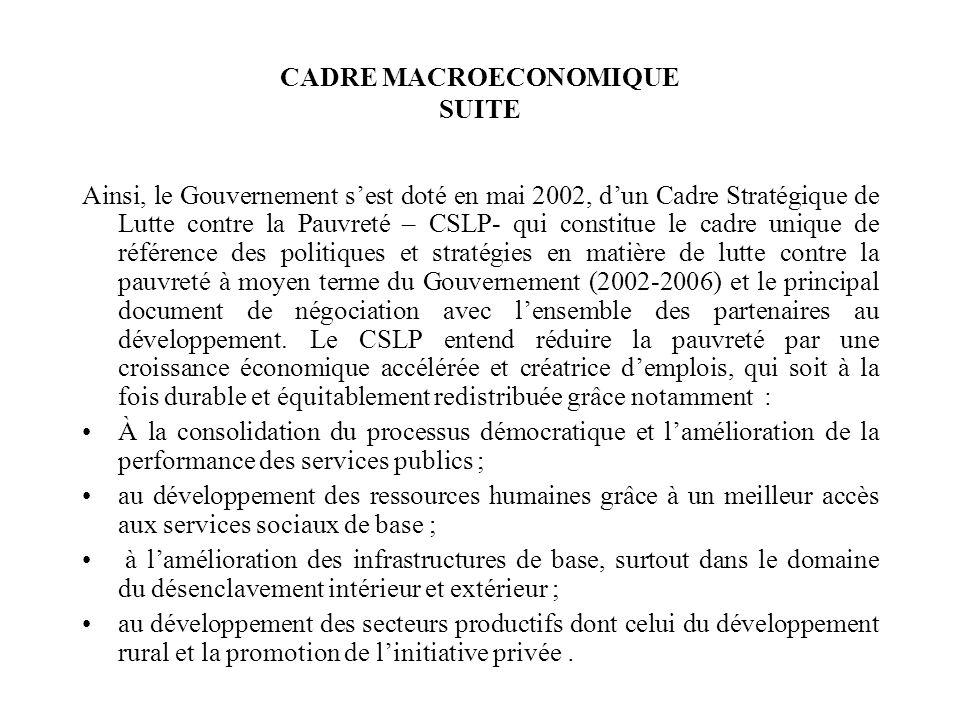 CADRE MACROECONOMIQUE SUITE Ainsi, le Gouvernement sest doté en mai 2002, dun Cadre Stratégique de Lutte contre la Pauvreté – CSLP- qui constitue le c