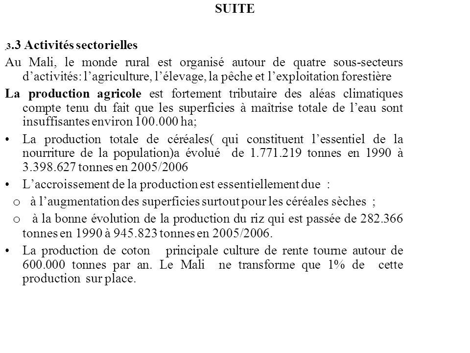 DIAGNOSTIC SUR LE CADRE GLOBAL ET SECTORIE SUITE 3.3 Activités sectorielles Au Mali, le monde rural est organisé autour de quatre sous-secteurs dactiv