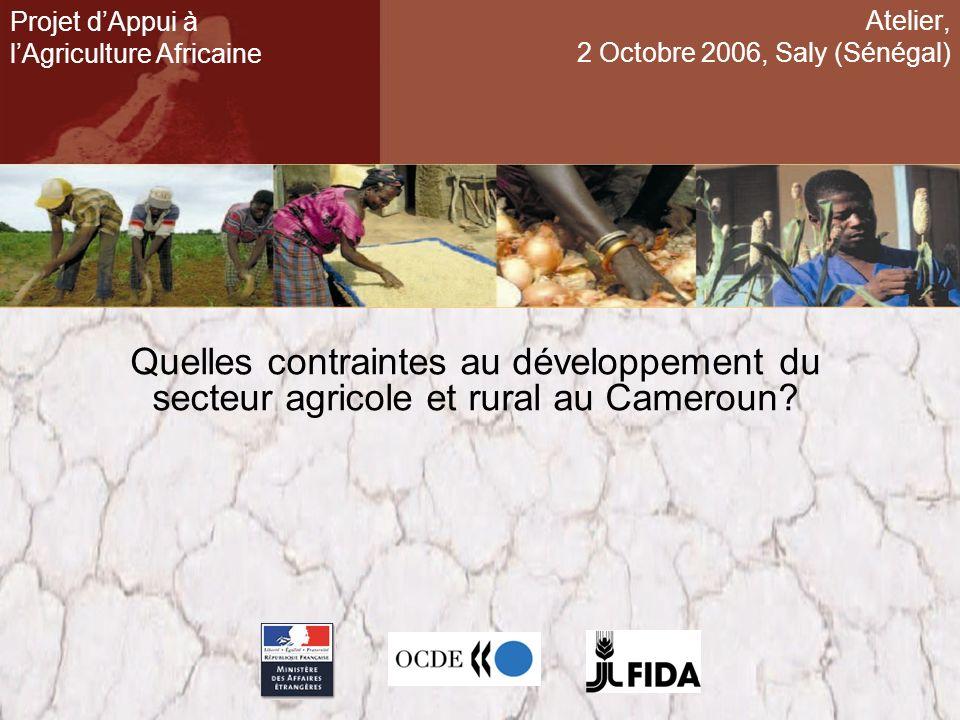 Atelier, 2 Octobre 2006, Saly (Sénégal) Quelles contraintes au développement du secteur agricole et rural au Cameroun? Projet dAppui à lAgriculture Af