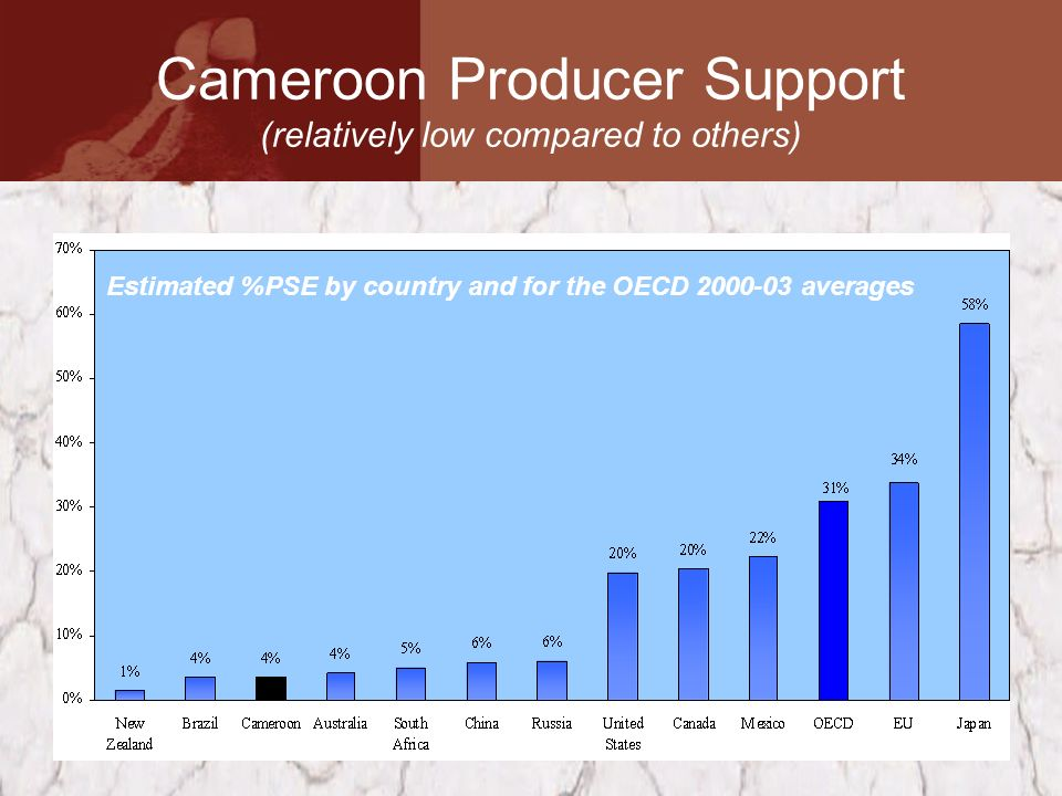 Cameroon Producer Support (relatively low compared to others) Estimated %PSE by country and for the OECD 2000-03 averages
