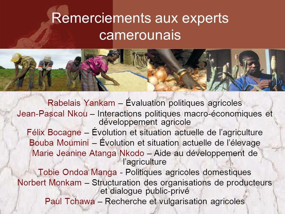 Rabelais Yankam – Évaluation politiques agricoles Jean-Pascal Nkou – Interactions politiques macro-économiques et développement agricole Félix Bocagne