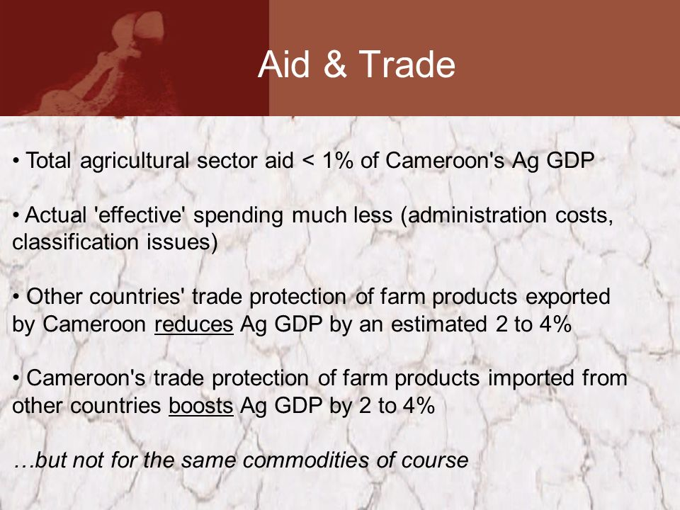 Aid & Trade Total agricultural sector aid < 1% of Cameroon s Ag GDP Actual effective spending much less (administration costs, classification issues) Other countries trade protection of farm products exported by Cameroon reduces Ag GDP by an estimated 2 to 4% Cameroon s trade protection of farm products imported from other countries boosts Ag GDP by 2 to 4% …but not for the same commodities of course