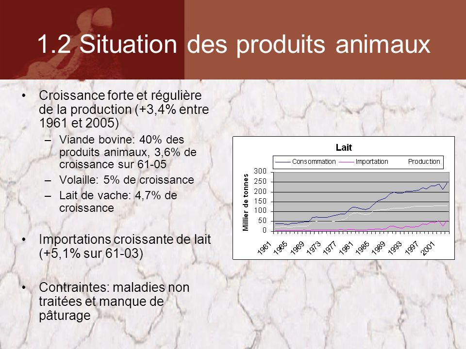 1.2 Situation des produits animaux Croissance forte et régulière de la production (+3,4% entre 1961 et 2005) –Viande bovine: 40% des produits animaux, 3,6% de croissance sur 61-05 –Volaille: 5% de croissance –Lait de vache: 4,7% de croissance Importations croissante de lait (+5,1% sur 61-03) Contraintes: maladies non traitées et manque de pâturage