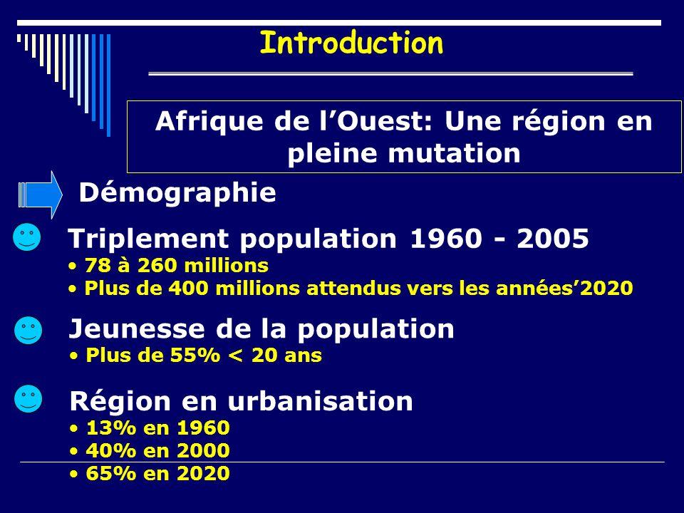 Introduction Afrique de lOuest: Une région en pleine mutation Démographie Triplement population 1960 - 2005 78 à 260 millions Plus de 400 millions attendus vers les années2020 Jeunesse de la population Plus de 55% < 20 ans Région en urbanisation 13% en 1960 40% en 2000 65% en 2020