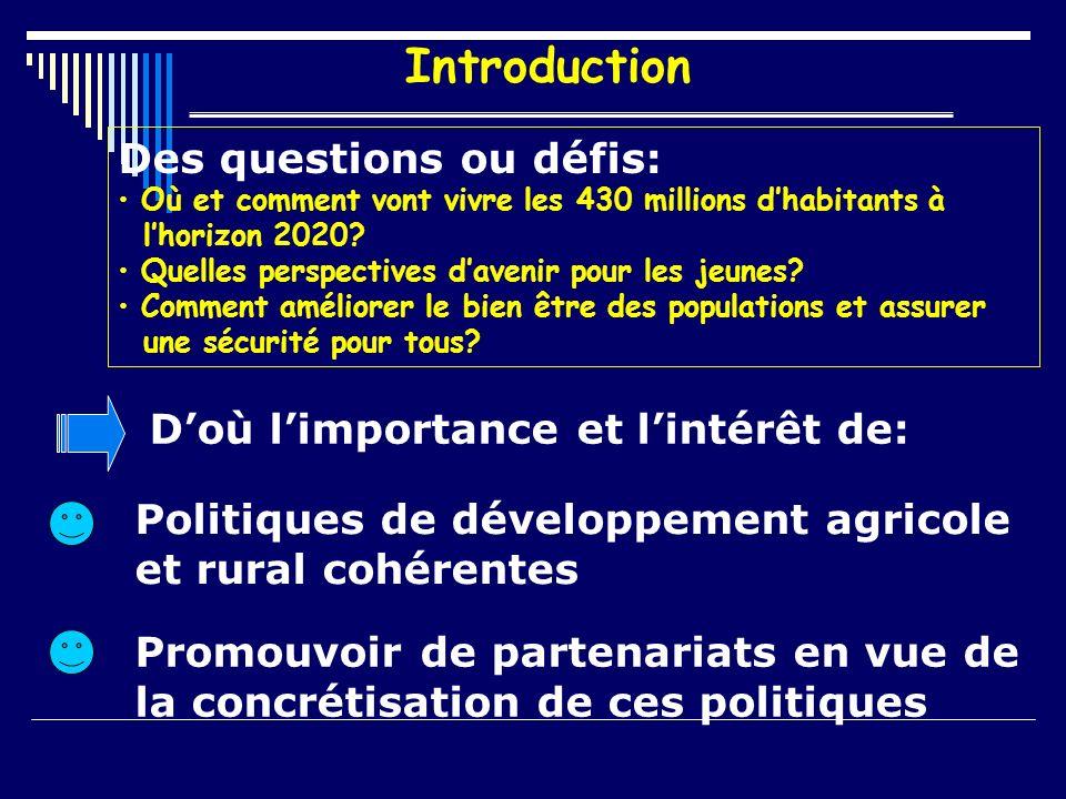 Introduction Des questions ou défis: Où et comment vont vivre les 430 millions dhabitants à lhorizon 2020.