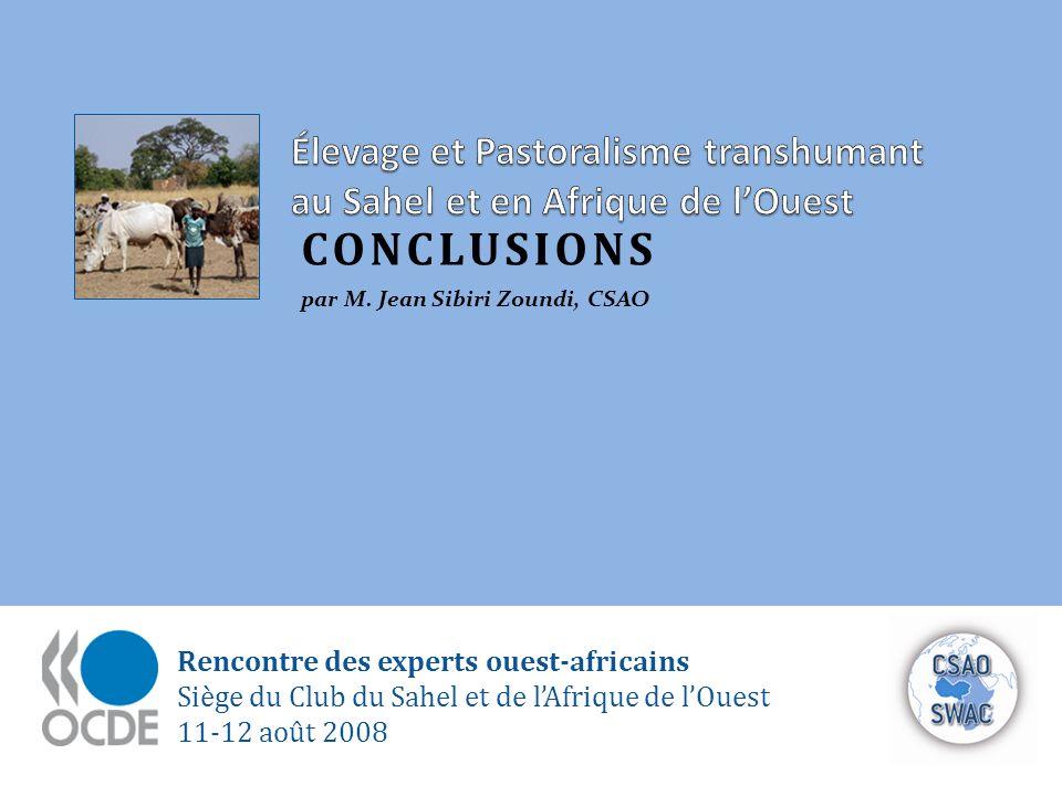 Rencontre des experts ouest-africains Siège du Club du Sahel et de lAfrique de lOuest 11-12 août 2008 CONCLUSIONS par M. Jean Sibiri Zoundi, CSAO