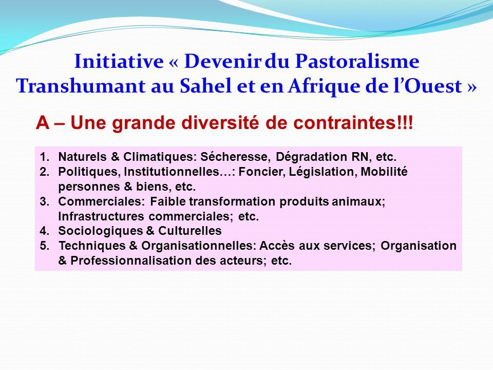 Initiative « Devenir du Pastoralisme Transhumant au Sahel et en Afrique de lOuest » A – Une grande diversité de contraintes!!! 1.Naturels & Climatique