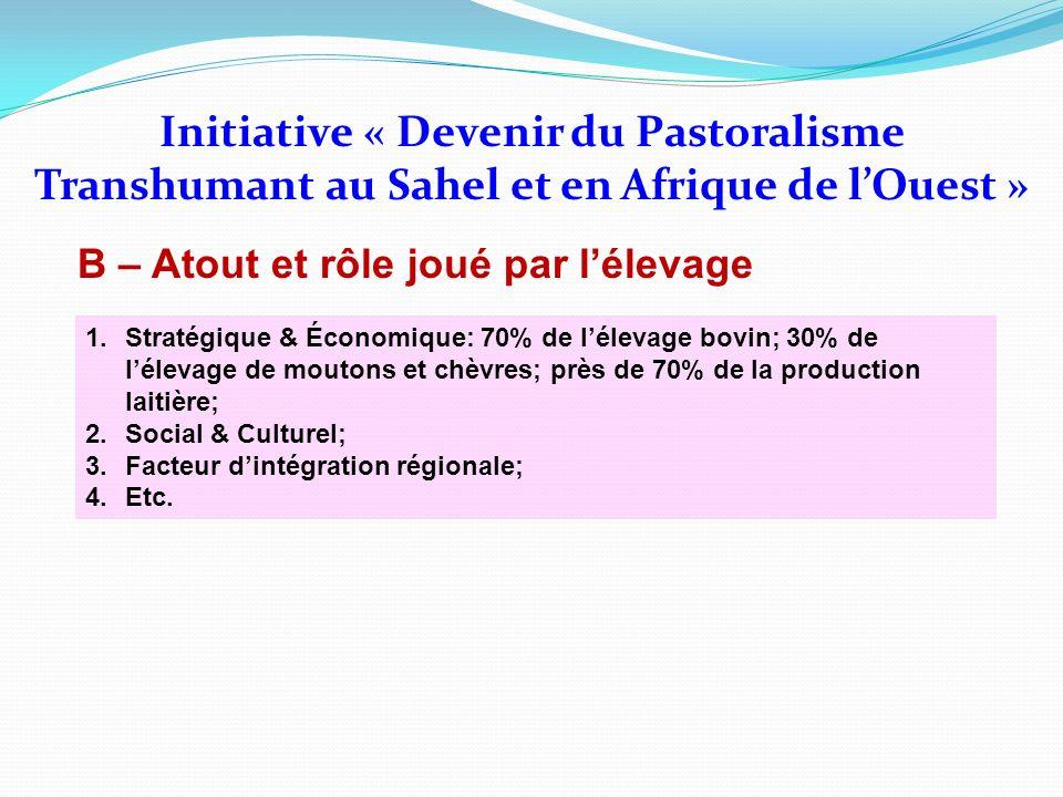 Initiative « Devenir du Pastoralisme Transhumant au Sahel et en Afrique de lOuest » B – Atout et rôle joué par lélevage 1.Stratégique & Économique: 70