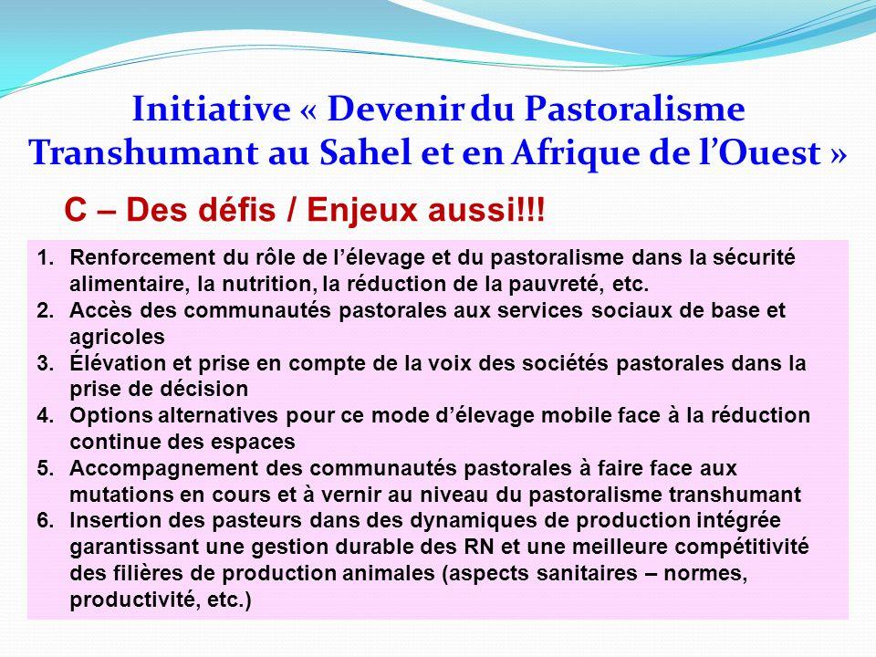 Initiative « Devenir du Pastoralisme Transhumant au Sahel et en Afrique de lOuest » C – Des défis / Enjeux aussi!!! 1.Renforcement du rôle de lélevage
