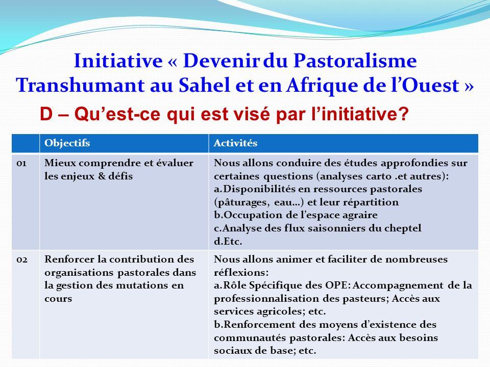 Initiative « Devenir du Pastoralisme Transhumant au Sahel et en Afrique de lOuest » D – Quest-ce qui est visé par linitiative? ObjectifsActivités 01Mi