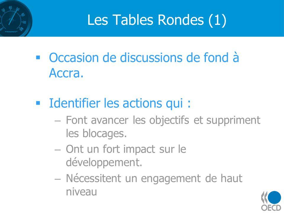 Les Tables Rondes (1) Occasion de discussions de fond à Accra. Identifier les actions qui : –Font avancer les objectifs et suppriment les blocages. –O