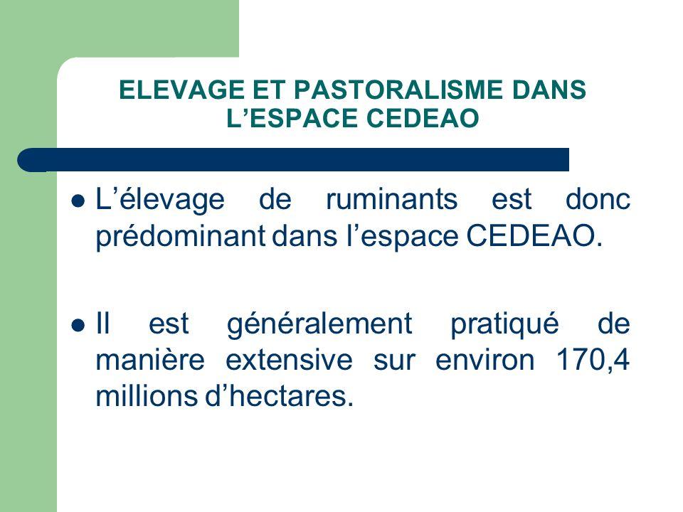 Lélevage de ruminants est donc prédominant dans lespace CEDEAO. Il est généralement pratiqué de manière extensive sur environ 170,4 millions dhectares