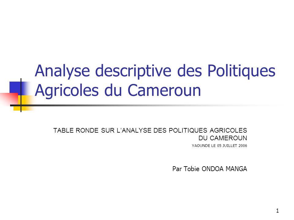 1 Analyse descriptive des Politiques Agricoles du Cameroun TABLE RONDE SUR LANALYSE DES POLITIQUES AGRICOLES DU CAMEROUN YAOUNDE LE 05 JUILLET 2006 Pa