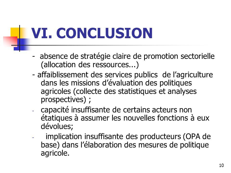 10 VI. CONCLUSION - absence de stratégie claire de promotion sectorielle (allocation des ressources...) - affaiblissement des services publics de lagr