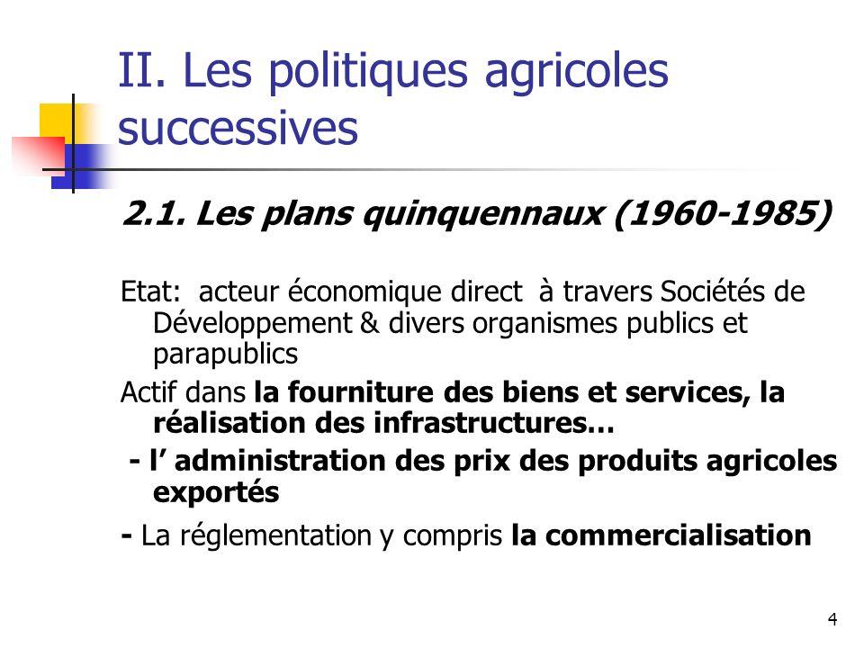 4 II. Les politiques agricoles successives 2.1. Les plans quinquennaux (1960-1985) Etat: acteur économique direct à travers Sociétés de Développement