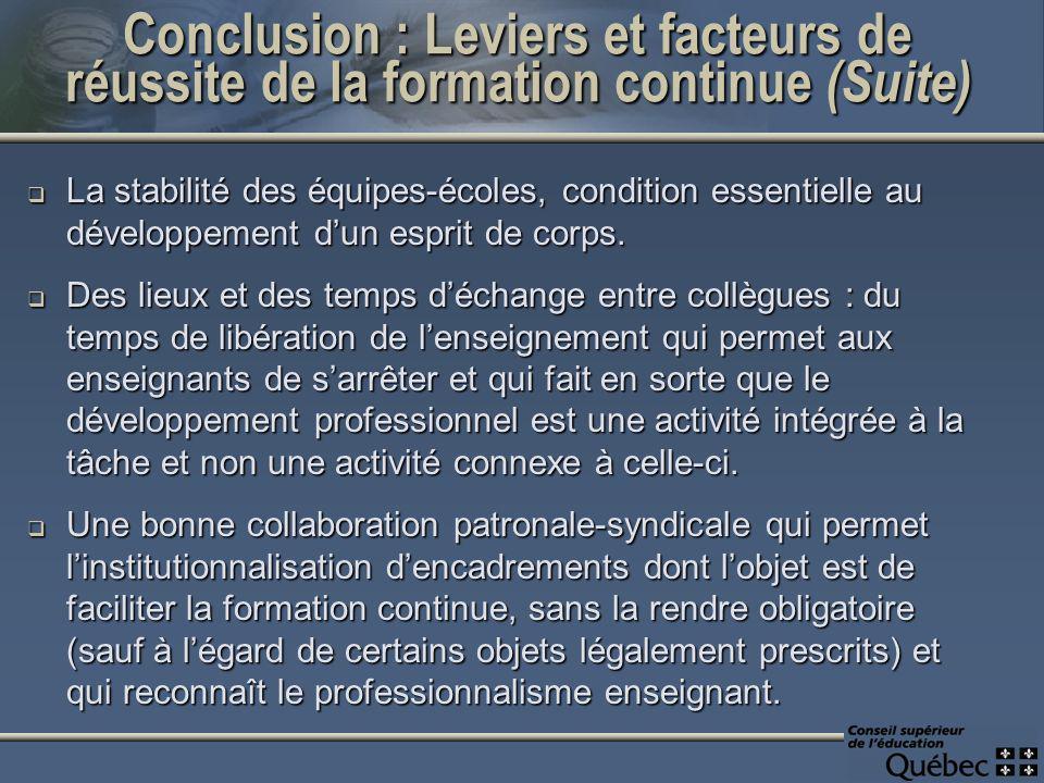 Conclusion : Leviers et facteurs de réussite de la formation continue (Suite) La stabilité des équipes-écoles, condition essentielle au développement dun esprit de corps.