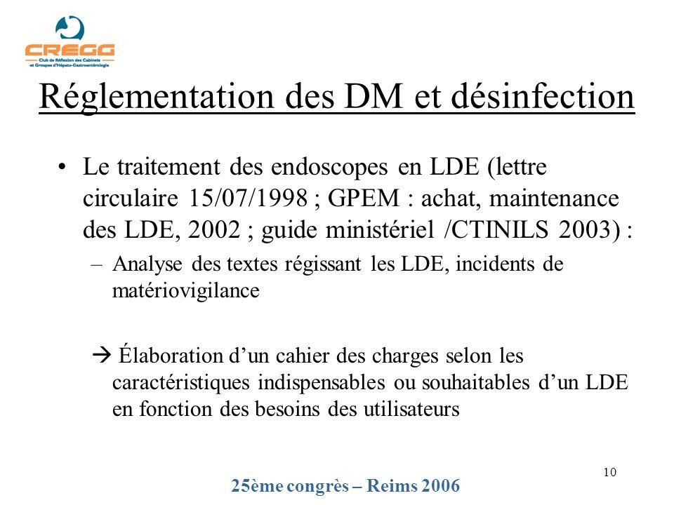 10 Le traitement des endoscopes en LDE (lettre circulaire 15/07/1998 ; GPEM : achat, maintenance des LDE, 2002 ; guide ministériel /CTINILS 2003) : –A