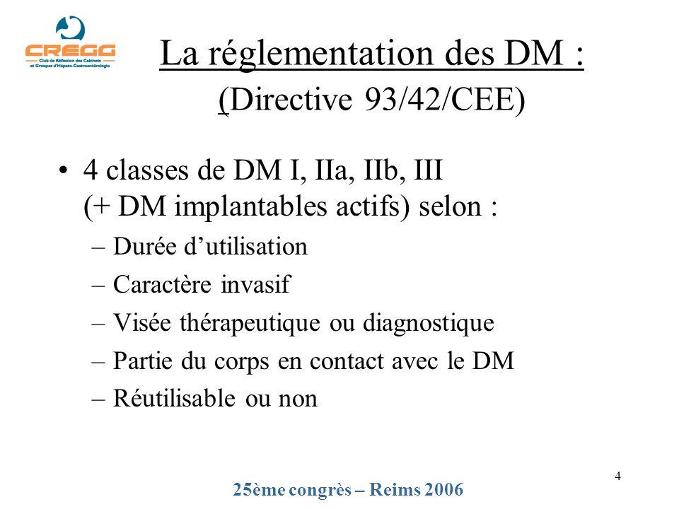 4 La réglementation des DM : (Directive 93/42/CEE) 4 classes de DM I, IIa, IIb, III (+ DM implantables actifs) selon : –Durée dutilisation –Caractère invasif –Visée thérapeutique ou diagnostique –Partie du corps en contact avec le DM –Réutilisable ou non 25ème congrès – Reims 2006