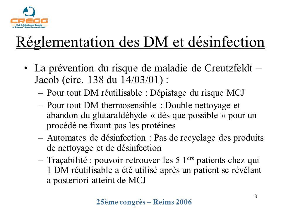 8 La prévention du risque de maladie de Creutzfeldt – Jacob (circ. 138 du 14/03/01) : –Pour tout DM réutilisable : Dépistage du risque MCJ –Pour tout