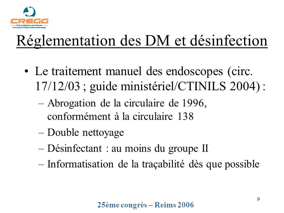 9 Le traitement manuel des endoscopes (circ. 17/12/03 ; guide ministériel/CTINILS 2004) : –Abrogation de la circulaire de 1996, conformément à la circ