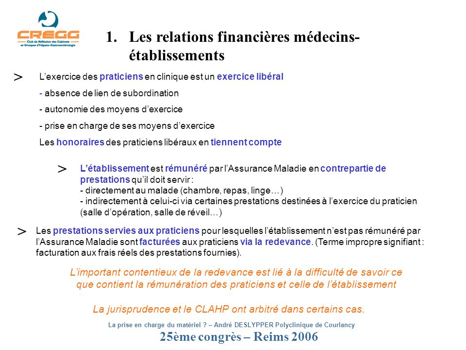 25ème congrès – Reims 2006 La prise en charge du matériel ? – André DESLYPPER Polyclinique de Courlancy 1.Les relations financières médecins- établiss