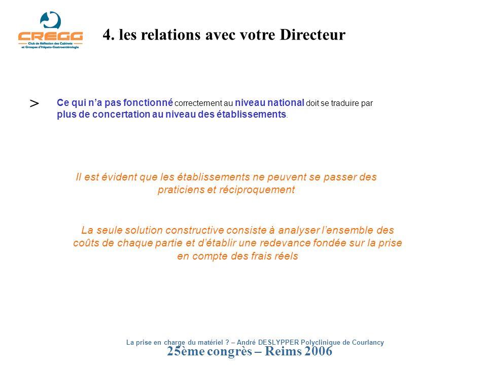 25ème congrès – Reims 2006 4. les relations avec votre Directeur Ce qui na pas fonctionné correctement au niveau national doit se traduire par plus de