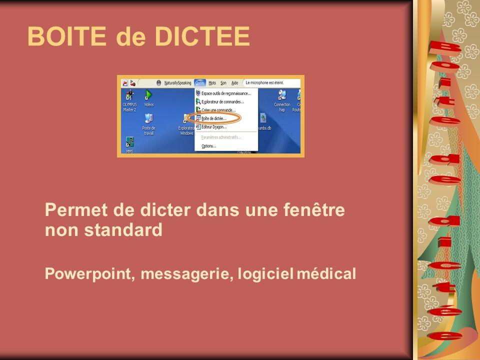BOITE de DICTEE Permet de dicter dans une fenêtre non standard Powerpoint, messagerie, logiciel médical