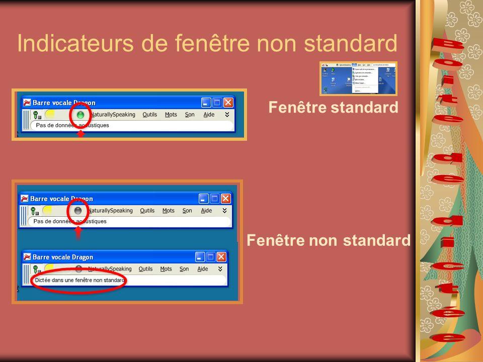 Indicateurs de fenêtre non standard Fenêtre standard Fenêtre non standard