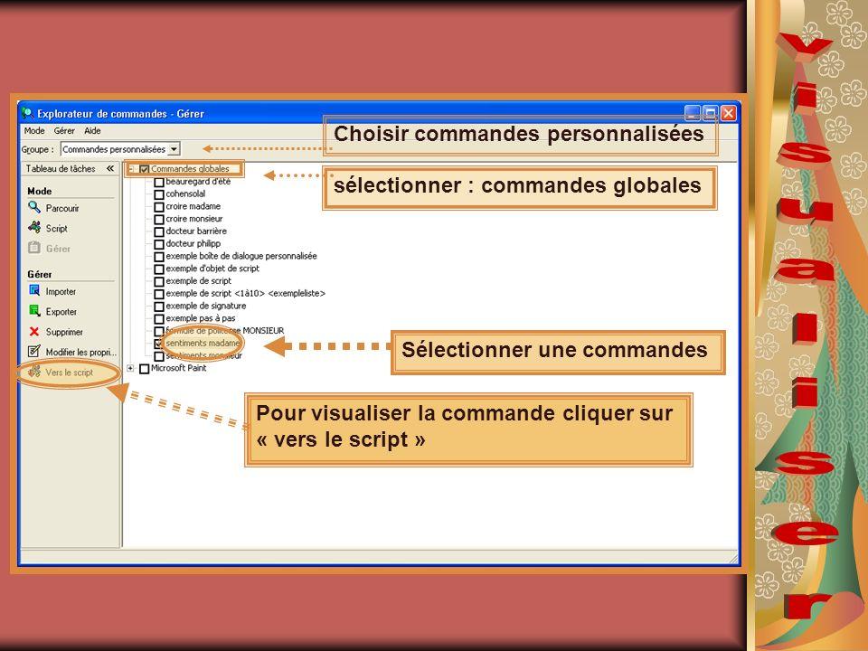 Choisir commandes personnalisées sélectionner : commandes globales Sélectionner une commandes Pour visualiser la commande cliquer sur « vers le script