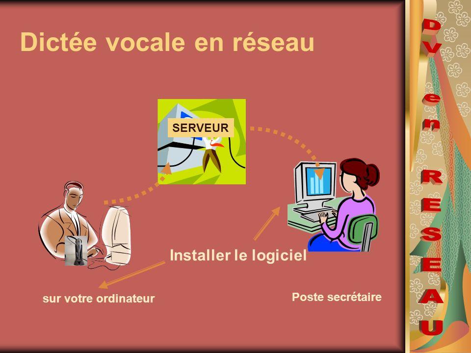Dictée vocale en réseau sur votre ordinateur Installer le logiciel SERVEUR Poste secrétaire