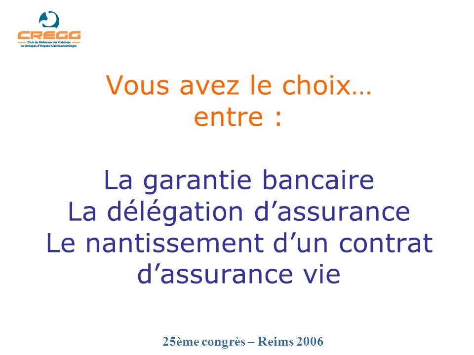 25ème congrès – Reims 2006 Vous avez le choix… entre : La garantie bancaire La délégation dassurance Le nantissement dun contrat dassurance vie