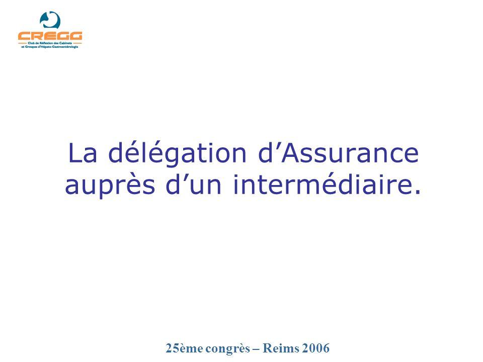 25ème congrès – Reims 2006 La délégation dAssurance auprès dun intermédiaire.