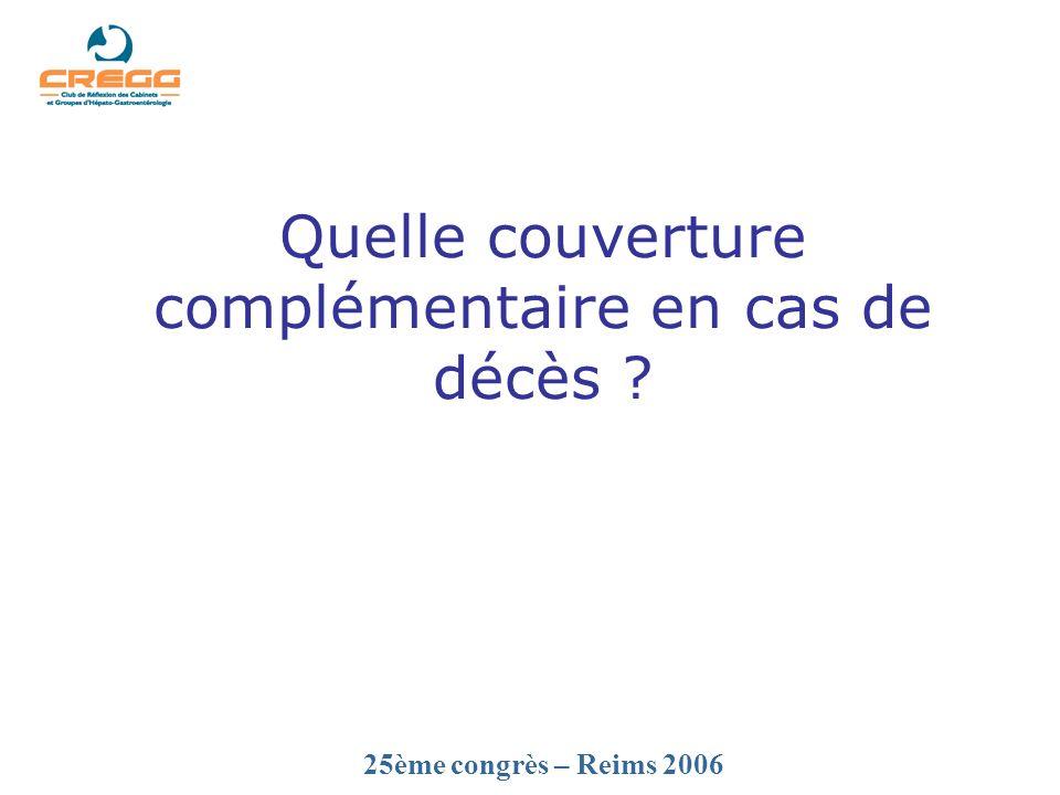 25ème congrès – Reims 2006 Quelle couverture complémentaire en cas de décès