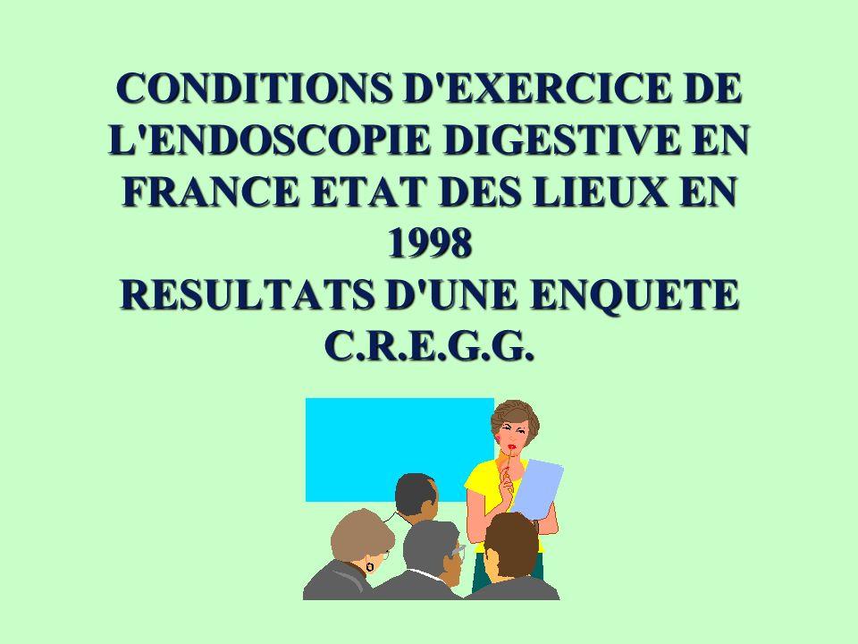 CONDITIONS D EXERCICE DE L ENDOSCOPIE DIGESTIVE EN FRANCE ETAT DES LIEUX EN 1998 RESULTATS D UNE ENQUÊTE C.R.E.G.G.