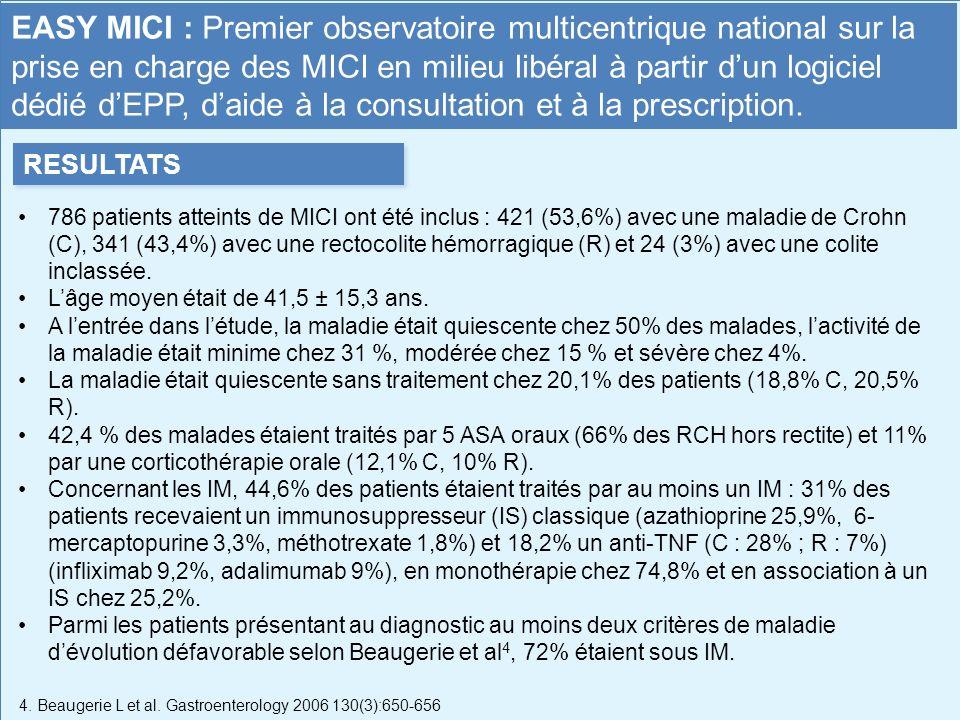 786 patients atteints de MICI ont été inclus : 421 (53,6%) avec une maladie de Crohn (C), 341 (43,4%) avec une rectocolite hémorragique (R) et 24 (3%)