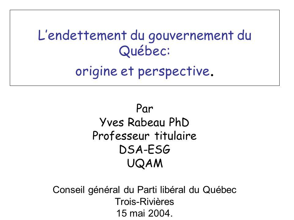 Lendettement du gouvernement du Québec: origine et perspective.