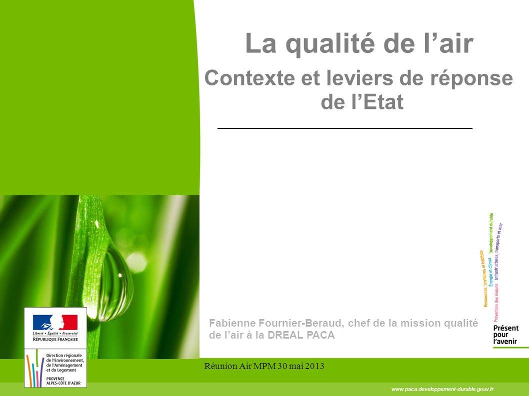 Réunion Air MPM 30 mai 2013 www.paca.developpement-durable.gouv.fr La qualité de lair Contexte et leviers de réponse de lEtat Fabienne Fournier-Beraud