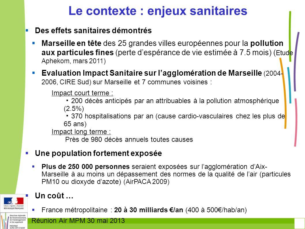 Réunion Air MPM 30 mai 2013 Des effets sanitaires démontrés Marseille en tête des 25 grandes villes européennes pour la pollution aux particules fines