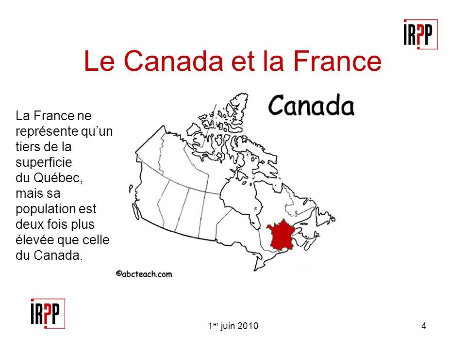 Le Canada et la France 1 er juin 20104 La France ne représente quun tiers de la superficie du Québec, mais sa population est deux fois plus élevée que celle du Canada.