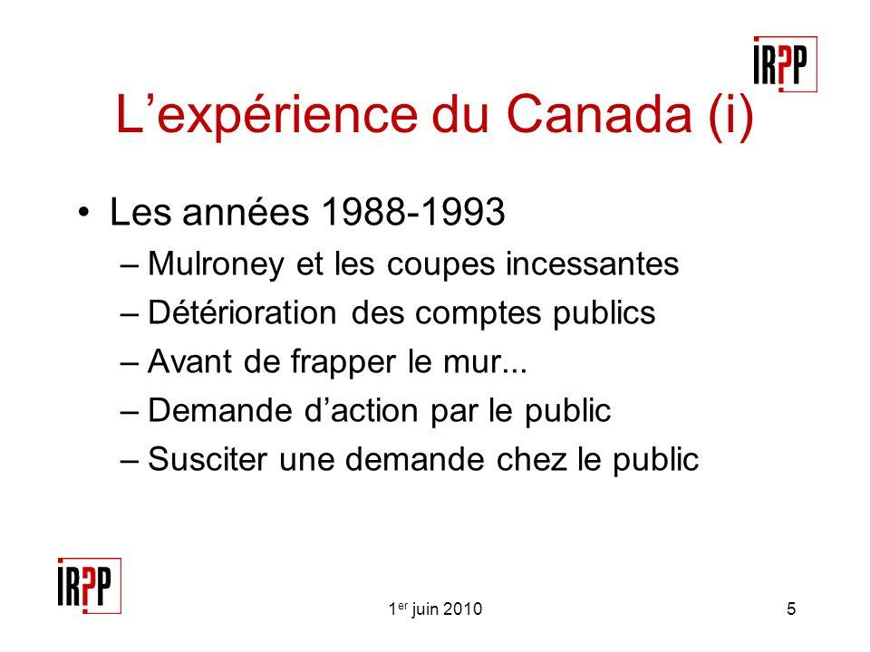 Lexpérience du Canada (i) Les années 1988-1993 –Mulroney et les coupes incessantes –Détérioration des comptes publics –Avant de frapper le mur...