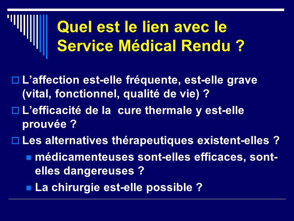 Quel est le lien avec le Service Médical Rendu ? Laffection est-elle fréquente, est-elle grave (vital, fonctionnel, qualité de vie) ? Lefficacité de l