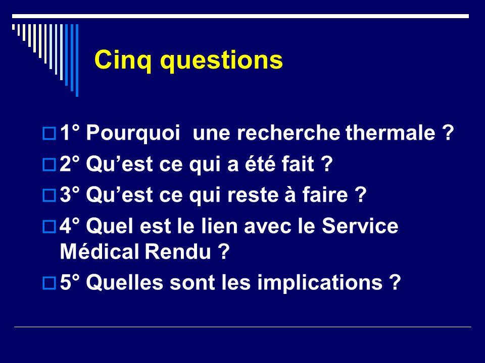 Cinq questions 1° Pourquoi une recherche thermale ? 2° Quest ce qui a été fait ? 3° Quest ce qui reste à faire ? 4° Quel est le lien avec le Service M