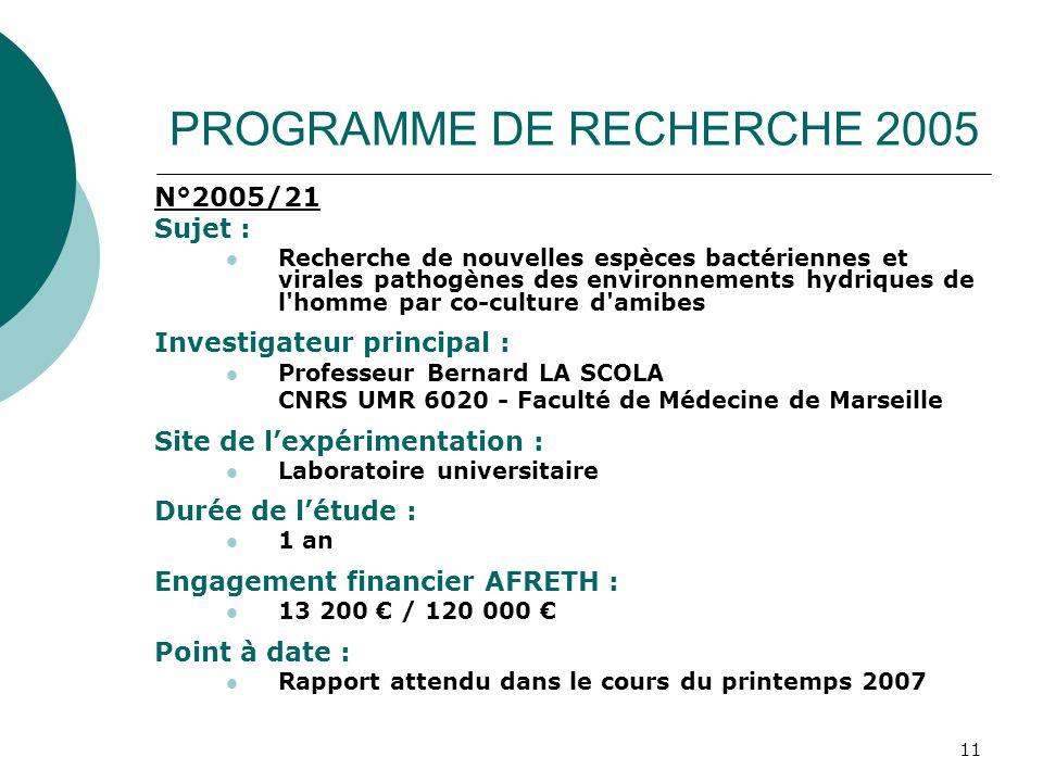11 N°2005/21 Sujet : Recherche de nouvelles espèces bactériennes et virales pathogènes des environnements hydriques de l'homme par co-culture d'amibes