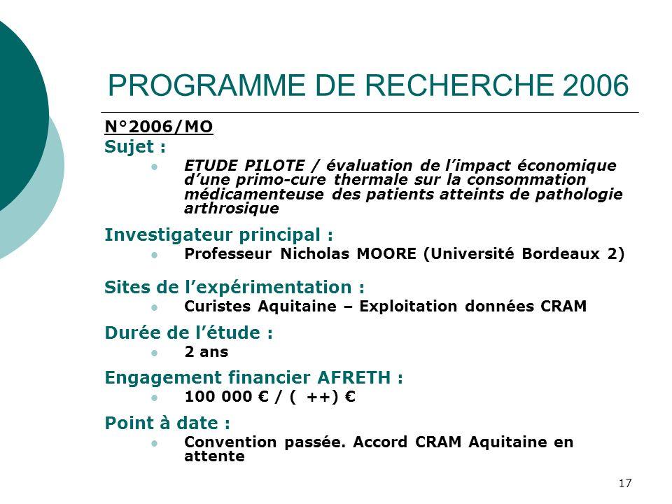 17 PROGRAMME DE RECHERCHE 2006 N°2006/MO Sujet : ETUDE PILOTE / évaluation de limpact économique dune primo-cure thermale sur la consommation médicame