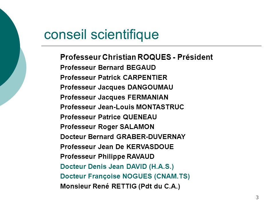 3 conseil scientifique Professeur Christian ROQUES - Président Professeur Bernard BEGAUD Professeur Patrick CARPENTIER Professeur Jacques DANGOUMAU Pr