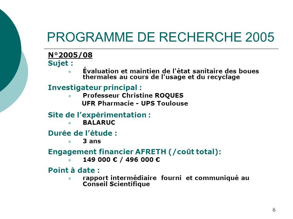 6 PROGRAMME DE RECHERCHE 2005 N°2005/08 Sujet : Évaluation et maintien de l'état sanitaire des boues thermales au cours de l'usage et du recyclage Inv