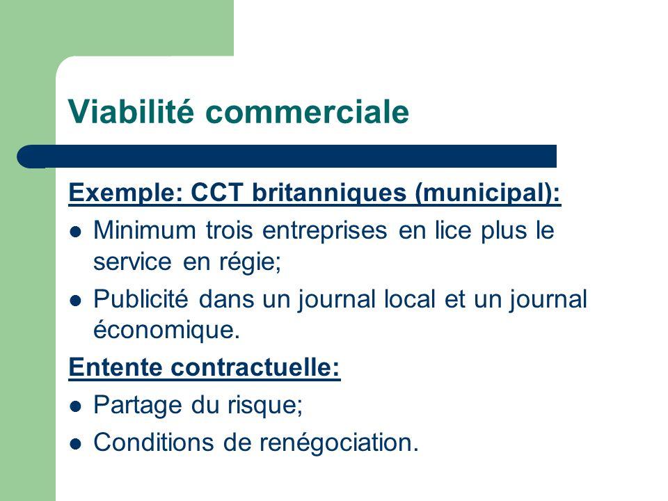 Viabilité commerciale Exemple: CCT britanniques (municipal): Minimum trois entreprises en lice plus le service en régie; Publicité dans un journal local et un journal économique.